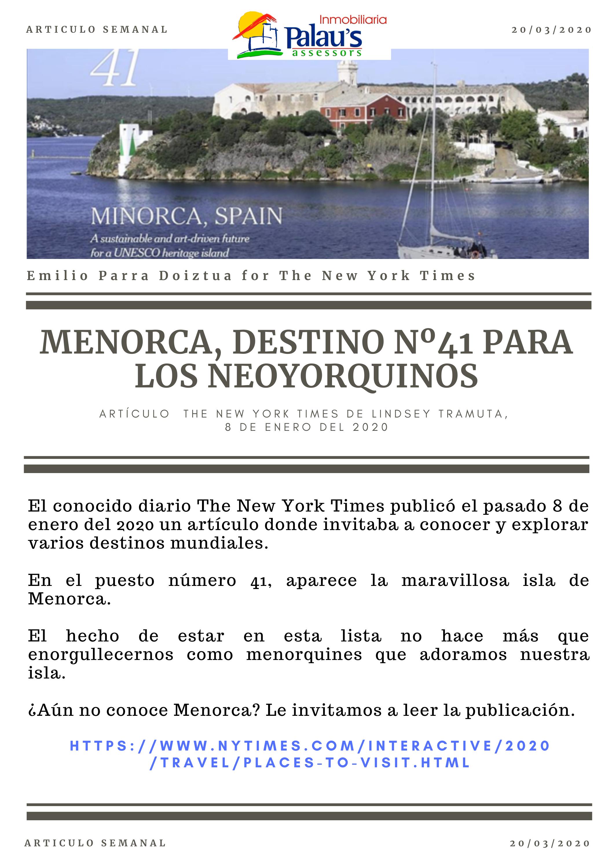 MENORCA, DESTINO Nº41 PARA LOS NEOYORQUINOS